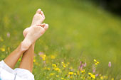 Foot in meadow